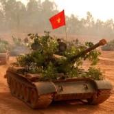 Bộ đội xe tăng hành quân chiến đấu.